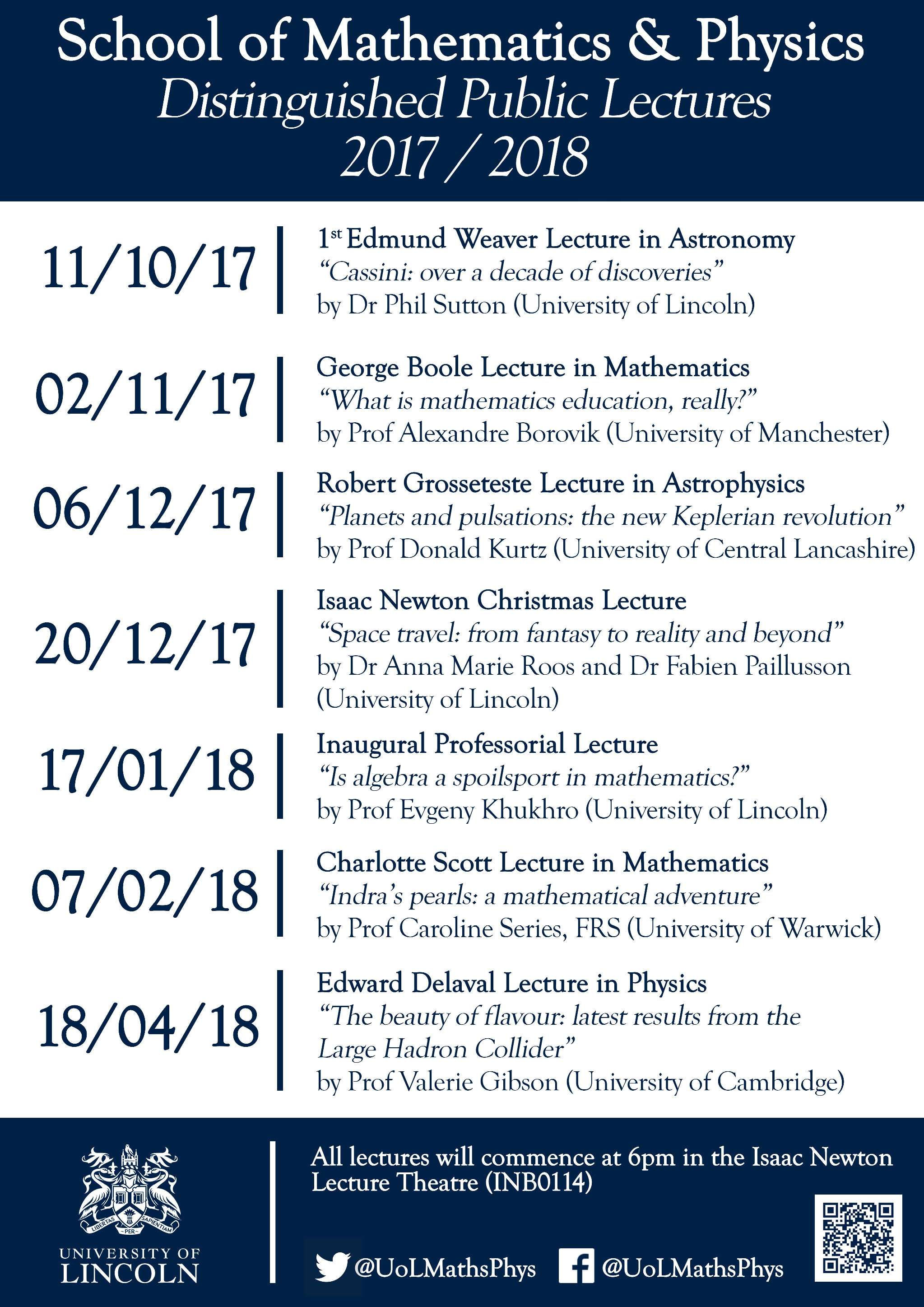 2017/18 Season – Distinguished Maths & Physics Public Lectures